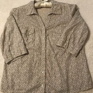 Cream colored blouse with small flowers